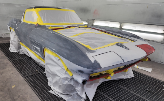 Chevrolet Corvette Mid Restoration Before Painting Front Right View