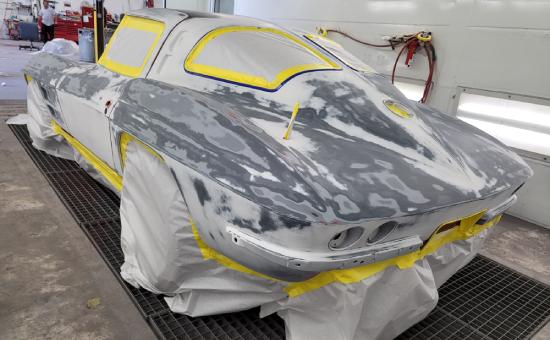 Chevrolet Corvette Mid Restoration Before Painting Back Left View